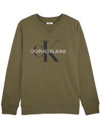 Calvin Klein Monograma lavado Equipo bordado Sudadera Uva Hoja Verde