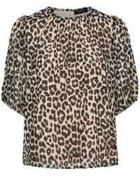 SELECTED Haut à manches bouffantes imprimé léopard - Multicolore