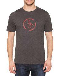 Original Penguin Distressed Circle Logo T-shirt Charcoal - Gris