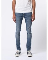 Nudie Jeans Delave Blue Skinny Jeans In Organic Cotton Tight Terry Steel Navy