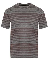 Z Zegna T-shirt rayé mercerisé Gris Bordeaux