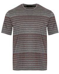 Z Zegna Camiseta Rayas Mercerizadas Gris Granate