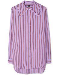 Paul Smith Camisa extragrande de mezcla de seda a rayas lila - Morado