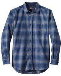 Pendleton Lodge Check L S Hemd Blau Marine Grau Ombre