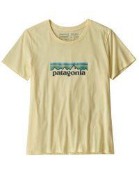 Patagonia Womens Pastel P 6 Logo Organic Cotton Crew T Shirt Resin Yellow