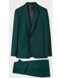 Paul Smith Laine Vert Foncé Homme Coupe Ajustée 'Un Costume Pour Voyager'