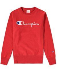 Champion Sweat-shirt rouge en coton à col ras du cou avec logo 212576-AMB