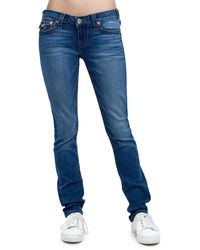 True Religion Skinny Red Orange Stitch Jean - Blue