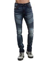 "True Religion Rocco Moto Skinny Jean 34"" - Blue"