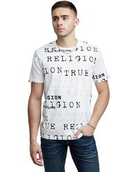 True Religion Allover Script Crew Neck Tee - Multicolor