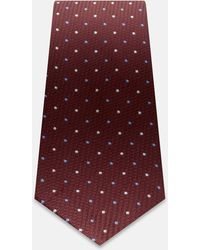 Turnbull & Asser Slim Burgundy Silk Tie With Blue And White Spot - Red