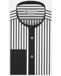 Turnbull & Asser - Tailored Fit Black And White Stripe Evening Shirt With Grandad Collar And Double Cuffs - Lyst