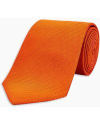 Turnbull & Asser - Orange Herringbone Silk Tie - Lyst