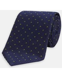 Turnbull & Asser - Navy And Green Spot Lace Silk Tie - Lyst
