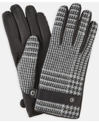Turnbull & Asser - Black And White Houndstooth Wool And Leather Gloves - Lyst