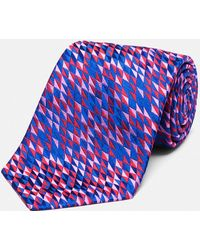 Turnbull & Asser - Triangle Diamond Royal Blue, Red And Pink Silk Tie - Lyst