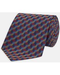 Turnbull & Asser - Red, Blue And Yellow Cube Silk Tie - Lyst