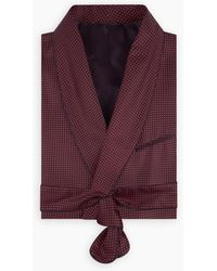 Turnbull & Asser Burgundy Piped Silk Spot Gown - Red