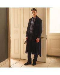 Turnbull & Asser Navy Linen & Cotton Cord Gown - Blue