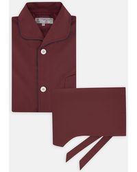 Turnbull & Asser Wine Piped Silk Pyjama Set - Red