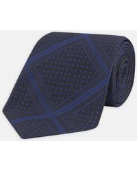 Turnbull & Asser - Dotted Square Black And Navy Silk Tie - Lyst