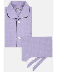 Turnbull & Asser - Lilac Pin-spot Check Piped Cotton Pyjama Set - Lyst