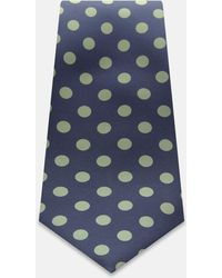 Turnbull & Asser - Navy And Yellow Large Spot Printed Silk Tie - Lyst