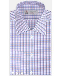 Turnbull & Asser - Pink And Royal Blue 1958 Check Shirt With Classic T&a Collar And 3-button Cuffs - Lyst