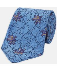 Turnbull & Asser - Jigsaw Paisley Blue And Purple Silk Tie - Lyst