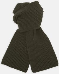 Turnbull & Asser - Khaki Green Knitted Cashmere Scarf - Lyst