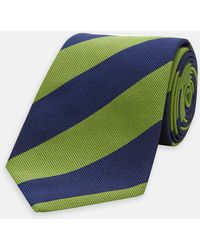 Turnbull & Asser - Navy And Green Block Stripe Repp Silk Tie - Lyst