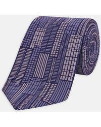 Turnbull & Asser - Slim City Art Purple Printed Silk Tie - Lyst