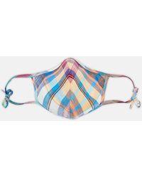 Turnbull & Asser Red & Teal Madras Check Linen Commuter Mask With 3 Viroformulatm Filters - Blue