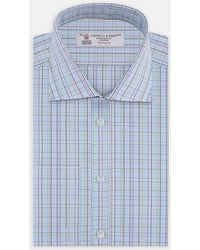 Turnbull & Asser - Blue And Green Triple Check Shirt With Regent Collar And Double Cuffs - Lyst
