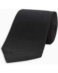 Turnbull & Asser Seven-fold Black Herringbone Silk Tie