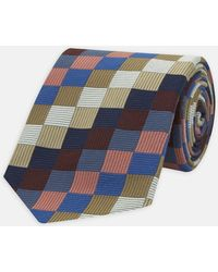 Turnbull & Asser - Gold, Cream And Blue Checkered Wool Tie - Lyst