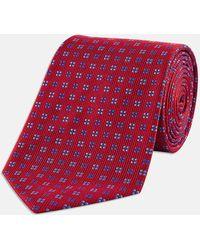 Turnbull & Asser - Red And Blue Mini Square Spot Silk Tie - Lyst