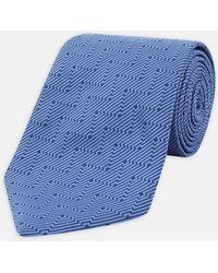Turnbull & Asser - Irregular Stripe Navy And Blue Silk Tie - Lyst