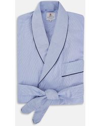 Turnbull & Asser Blue Fine Bengal Stripe Piped Cotton Gown
