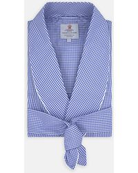 Turnbull & Asser Mid Blue Gingham Check Piped Cotton Gown