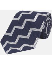 Turnbull & Asser - Navy And White Striped Zigzag Silk Tie - Lyst