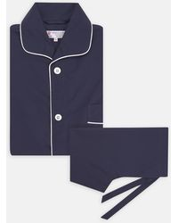 Turnbull & Asser - Navy Piped Cotton Pyjama Set - Lyst
