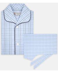 Turnbull & Asser Blue And Green Windowpane Check Cotton Pyjama Set