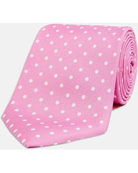 Turnbull & Asser - Pink And White Spot Printed Silk Tie - Lyst