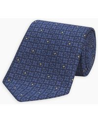 Turnbull & Asser Mini Floral Check Tonal Blue And Yellow Silk Tie