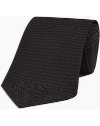 Turnbull & Asser Black Grenadine Silk Tie