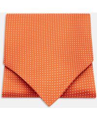Turnbull & Asser - Orange And White Mini Spot Silk Ascot Tie - Lyst