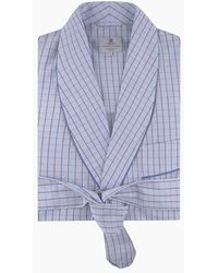 Turnbull & Asser Sky Blue And Red Pin Check Cotton Gown