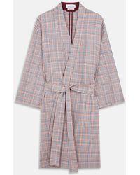 Turnbull & Asser Burgundy Multi Check Cotton Kimono Gown - Multicolour