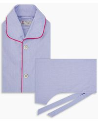 Turnbull & Asser Blue And Red Piped End On End Pajama Set